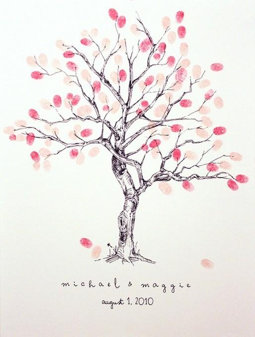 可愛いピンク色のインクのウェディングツリー