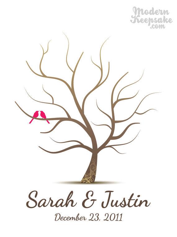 小鳥のカップルのウェディングツリー